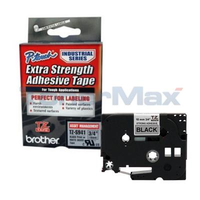 BROTHER TZ EXTRA-STRENGTH TAPE BLACK/SILVER 3/4IN